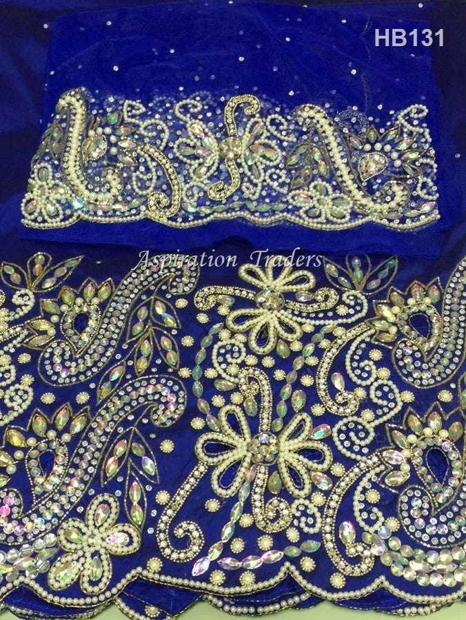 Royal Blue Heavily Beaded Igbo Wedding George Wrapper With Blouse - HB131