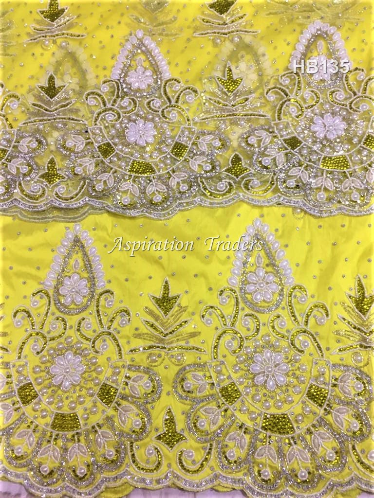 Yellow Color Heavy Beaded VIP George Fabric With 2 yard Blouse - HB135