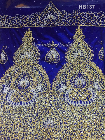 Royal Blue Color Heavy Beaded African Wedding First lady VIP cutwork George - HB137
