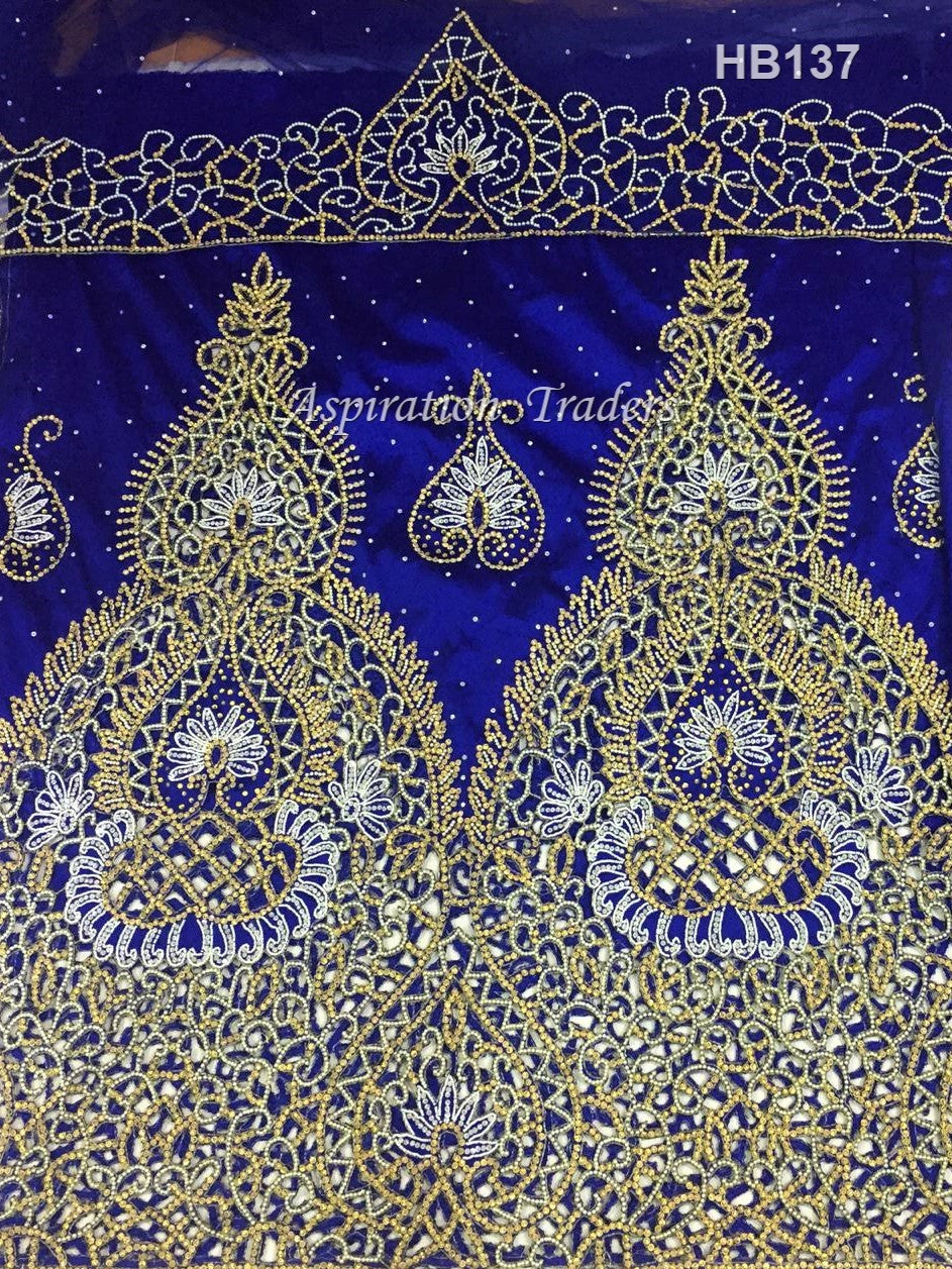 Royal Blue Heavy Beaded African Wedding George With Designer cutwork - HB137