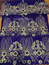 Load image into Gallery viewer, 3D Floral Heavily Beaded African Style George Wrapper With Blouse- HB138