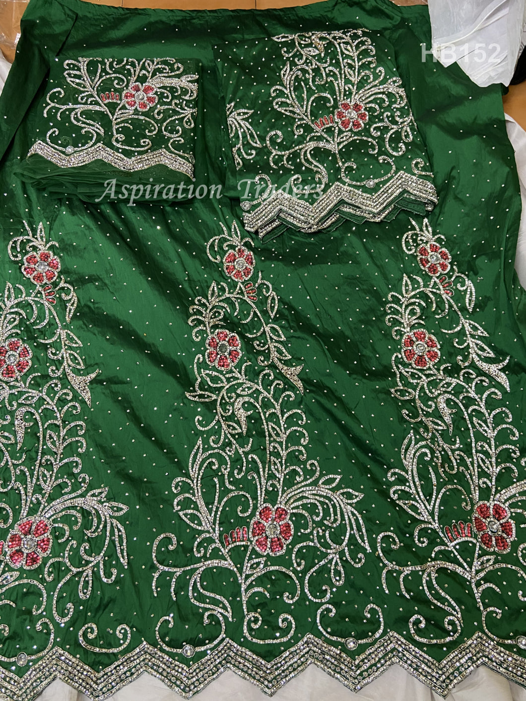 Nigerian Green Crystal Stone Work George Wrapper With Blouse- HB152
