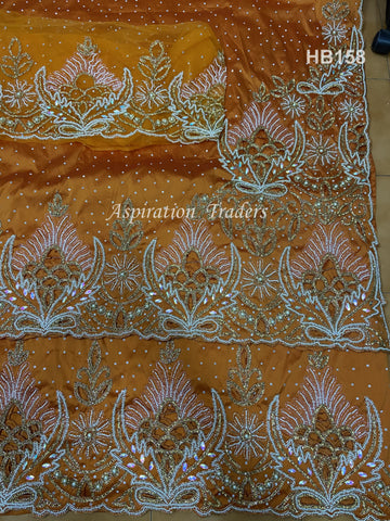 Orange Beautiful Heavy beaded Nigerian Wedding VIP Silk Taffeta George Wrapper - HB158