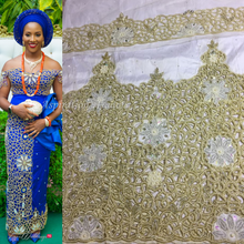 Load image into Gallery viewer, New fashion White African George Wrapper with sequins George set - HB165