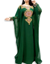 Load image into Gallery viewer, Nigerian Green  Kaftan with Long Sleeve  inside belt Plus Size Beaded kaftans - K032