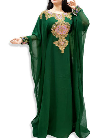 Nigerian Green  Kaftan with Long Sleeve  inside belt Plus Size Beaded kaftans - K032