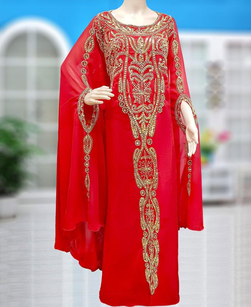 Red Color Bridal Wedding Gown Party wear long dress Hand beaded work dress - K040
