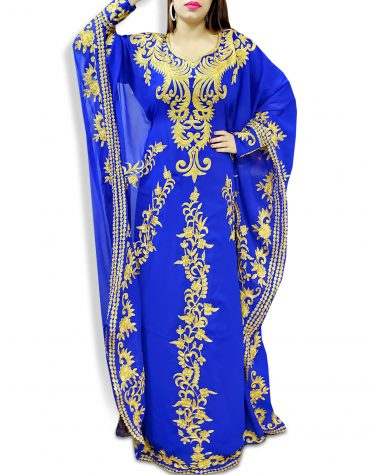 Royal Blue Embroidery with Caftan Dresses for Women Party Wear Kaftan  - K041