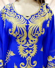 Load image into Gallery viewer, Royal Blue Embroidery with Caftan Dresses for Women Party Wear Kaftan  - K041