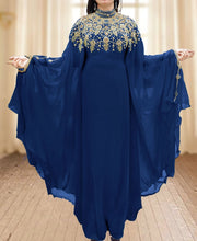 Load image into Gallery viewer, Hand Beaded work kaftan long sleeves with stand collar beaded long kaftan - K047