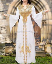 Load image into Gallery viewer, White Beaded work kaftan long sleeves with stand collar beaded long kaftan - K053