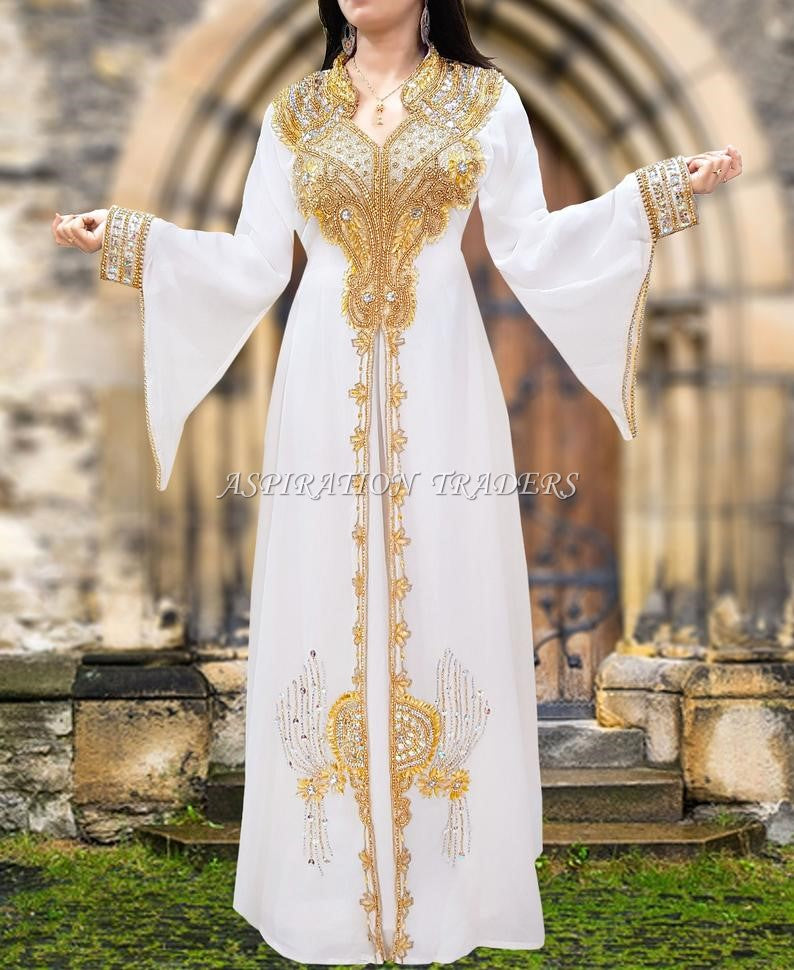 White Beaded work kaftan long sleeves with stand collar beaded long kaftan - K053