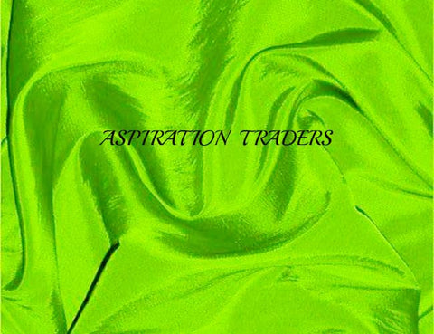 Lime Green Silk Taffeta Fabric - Aspiration Traders
