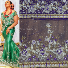 Load image into Gallery viewer, Net Lace Heavy Beaded Nigerian Wedding George Wrapper- NLVG022