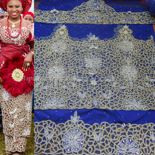 Load image into Gallery viewer, Royal Blue Net Lace Crystal Beaded VIP George Wrapper For Igbo Brides- NLVG041