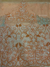 Load image into Gallery viewer, Sweet Peach  Net Lace African Heavy Sequins Beads With Sleeves Fringes VIP George - NLVG064