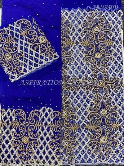 Royal blue hand beaded george fabric with cutwork on 2nd wrapper George set - NLVG070