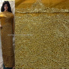 Load image into Gallery viewer, Mustard Gold Color Net lace VIP George with All Golden Crystal Stone Work - NLVG086
