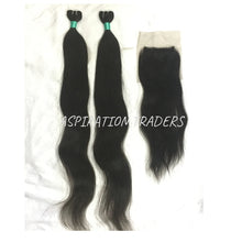 Load image into Gallery viewer, Virgin Straight Hair Extension - 2 Bundles + 1 Closure - Aspiration Traders