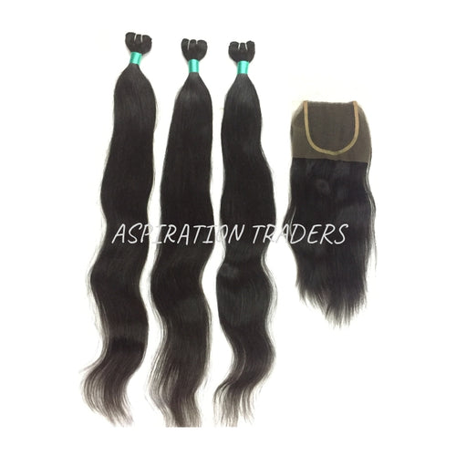 Virgin Natural Straight Hair Extension - 3 Bundles + 1 Closure - Aspiration Traders