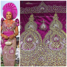 Load image into Gallery viewer, Royal Blue Heavy Beaded African Wedding George With Designer cutwork - HB137