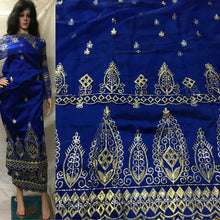 Load image into Gallery viewer, Nigerian wholesale Silk Embroidered  George wrappers with French lace blouse  - RSG131