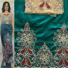 Load image into Gallery viewer, Teal Green Heavy Beaded VIP George With Golden Netlace Blouse- HB088