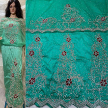 Load image into Gallery viewer, Nigerian Green Crystal Stone Work George Wrapper With Blouse- HB152