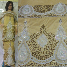 Load image into Gallery viewer, Golden Heavily Beaded Designer VIP Madam Silk George With Blouse - HB134