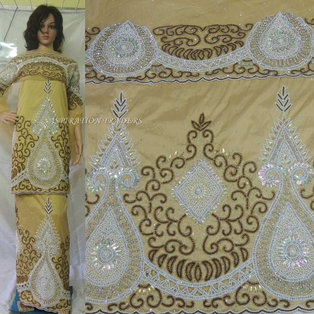 Golden Heavily Beaded Designer VIP Madam Silk George With Blouse - HB134