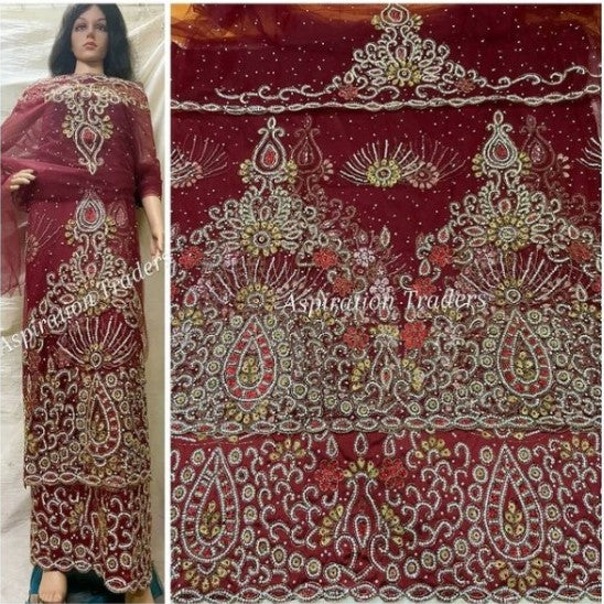 Burgundy Crystal Beaded Net Lace Indian George Wrapper With Fancy Blouse- NLVG023