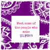 Purple and white illustrated mandala background with a white text box and pink text that reads 'Meet some of the people who make Darn Good Yarn'