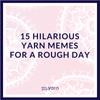 Pink and white mandala illustrated background with purple text that reads '15 Hilarious Yarn Memes for a Rough Day'