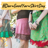Close up of 3 women wearing Sari Wrap Skirts and text that reads '#DarnGoodYarnSkirtDay'
