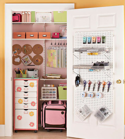 Over the door pegboard organizer for small craft spaces