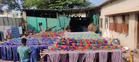 Silk Yarns hanging to dry in the sun at a co-op in India