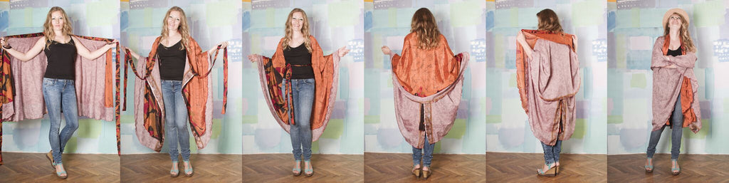 3 image collage of woman tying her sari wrap skirt into a poncho