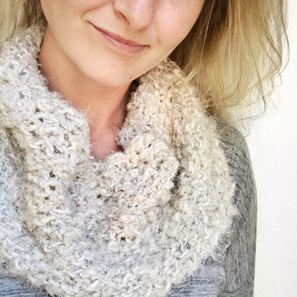 Cozy Lux Adventure Cowl in cream on a woman's neck