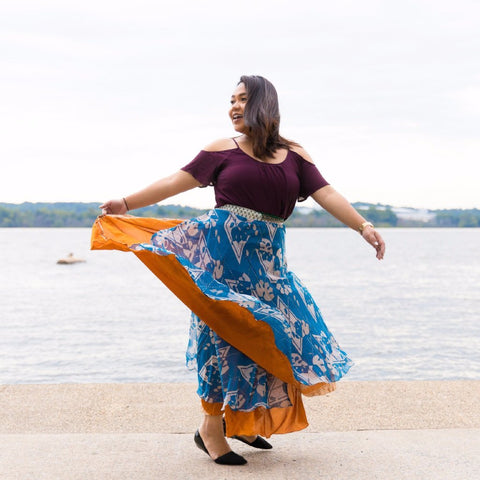 Sari silk Wrap Skirt