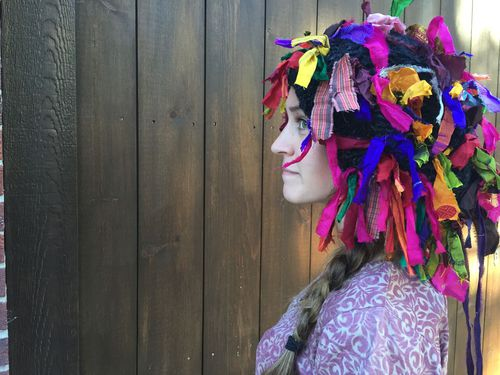 yarn wig over woman
