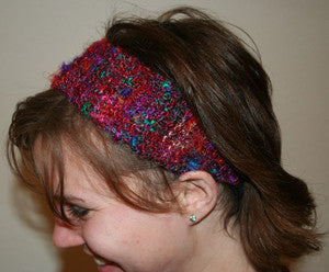 woman wearing yarn bandana