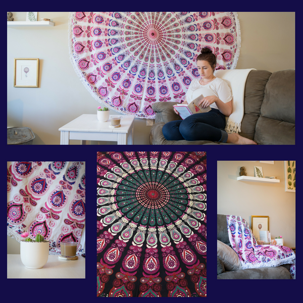 4 image collage of different ways to use a purple mandala tapestry: hanging on a wall, above a white dresser, and draped over a couch