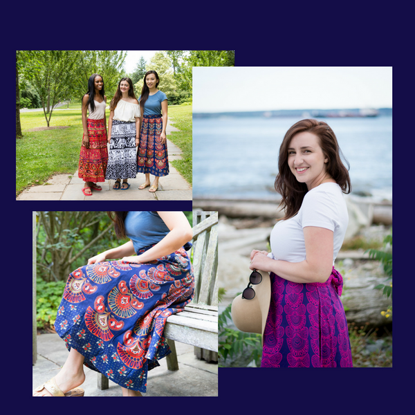 3 image collage of women wearing cotton maxi wrap skirts on a beach, in a park, and sitting on a wooden bench