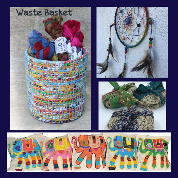 4 image collage of a recycled plastic wastebasket, embroidered elephant pillowcase,stacks of crochet hemp scrubbies, and a feather and beaded dreamcatcher hanging on a white wall