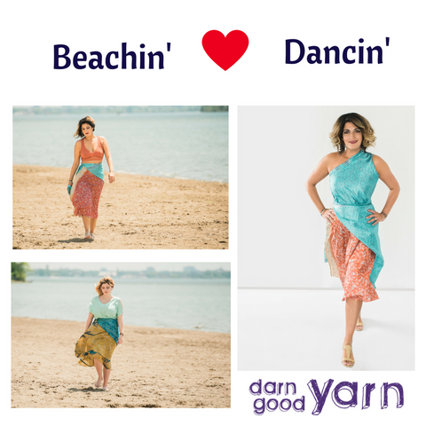 3 images of a woman wearing a sari wrap skirt in blue and orange, styled three different ways, standing on a beach, with text that reads 'Beachin <3 Dancin'