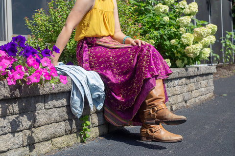 Wear Your Sari Wrap Skirt with Tall Riding Boots