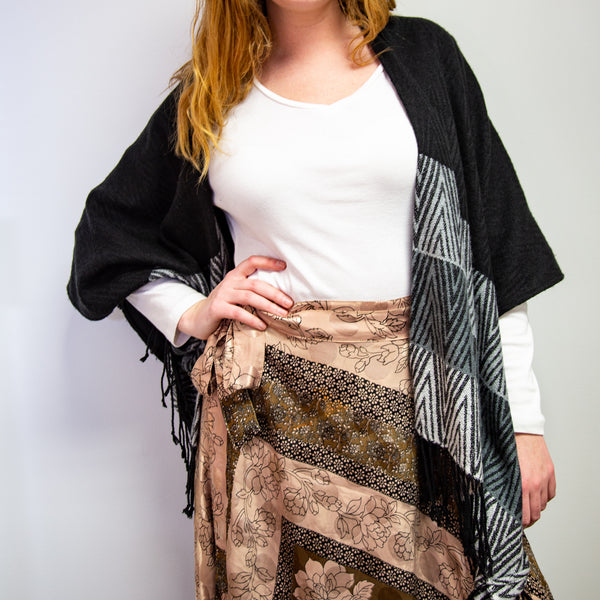 Slow Fashion Skirt worn by woman against white background