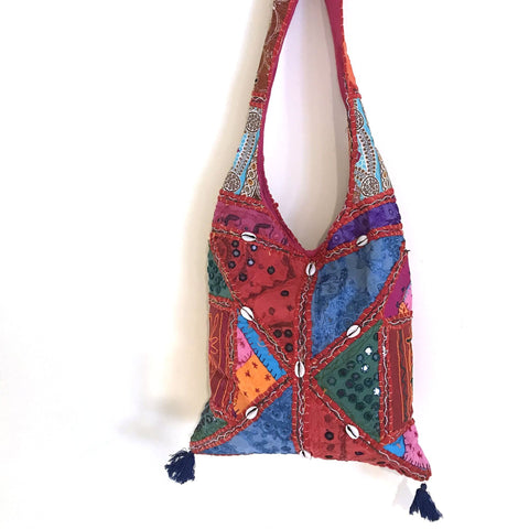 indian shell patchwork crossbody bag on a white background