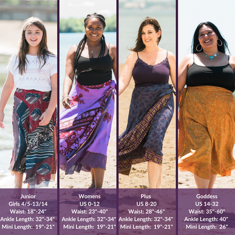 """A size chart of DGY's skirt sizes and lengths, being displayed by our gorgeous models. Our junior size (waist: 18""""-24"""", ankle length: 32""""-34"""", mini length: 19""""-21""""), our women's size (waist: 23""""-40"""", ankle length: 32""""-34"""", mini length: 19""""-21""""), our plus size (waist: 28""""-46"""", ankle length: 32""""-34"""", mini length: 19""""-21""""), and our goddess size (waist: 35""""-60"""", ankle length: 40"""", mini length: 26"""")."""