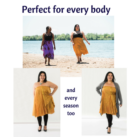 3 images of women wearing sari wrap skirts styled 3 different ways, with text that reads 'Skirts for every body and every season too'